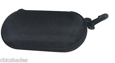 Nylon Zipper Eyewear Case Soft Sunglasses Eyeglass Glass Black w/ Hook Sunnies
