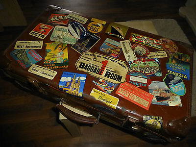 60+ Repro vintage LUGGAGE LABELS - decoupage decorate old suitcase steamer trunk