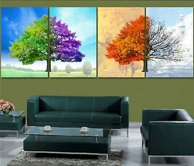 Four Seasons Trees MODERN ABSTRACT WALL ART OIL PAINTING ON CANVAS (no framed)