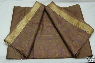 VINTAGE WEAVING BORDER PURE SILK FABRIC PRINTED 5 YD SARI SAREE