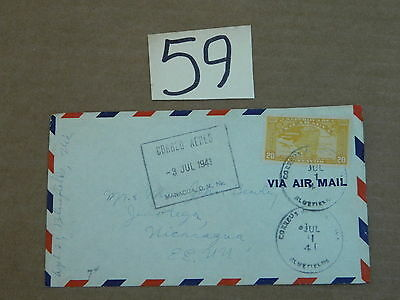 1941 ENVELOPE W/ STAMP FROM NICARAGUA TO USA