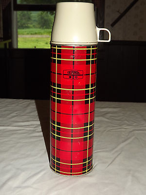 "Vintage Picnic Food Coffee Drinks 1973 King Seeley Plaid  13 3/4"" High Thermos"