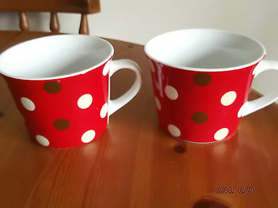 """2 X LARGE POTTERY SPOTTED  MUGS 3.25"""" TALL"""