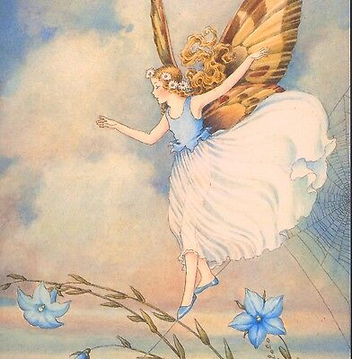 Mint...! Outhwaite Fairy Balances On Spider Web,repro,blank,note, Greeting Card