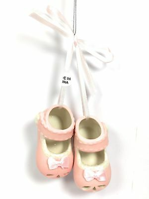 a7fbf04fcaf PORCELAIN PINK BABY Shoes Christmas Tree Ornament by Cannon Falls ...