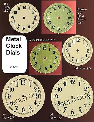 Ivory & Gold Finish Clock Dial Metal Face Parts Steampunk Art Supplies