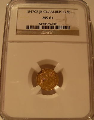 Central American Republic 1847 CR JB Gold 1/2 Escudo NGC MS-61