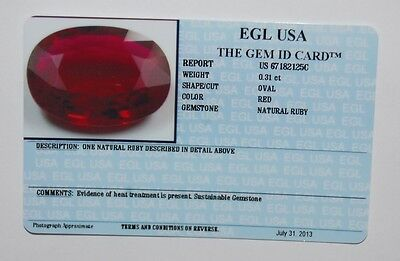 EGL USA Certified Natural Oval RED RUBY 0.31ct.