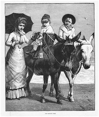 Victorian Children Riding Donkeys at the Seaside - Antique Print 1885