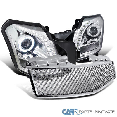 2003-2007 Cadillac CTS Chrome SMD LED Halo Projector Headlights+Mesh Hood Grille