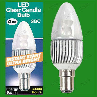2x 4W Ultra Low Energy Candle LED Instant On Light Bulb SBC B15 Cool White 4000K