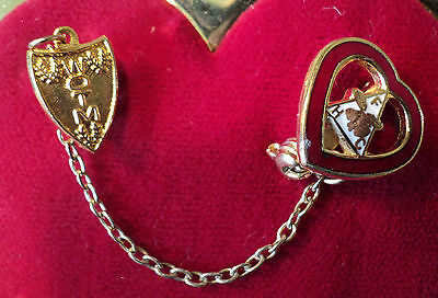 WOMEN OF THE MOOSE FHC JOINED PIN~ON LARGER HEART PIN~ORDER OF THE MOOSE~EUC