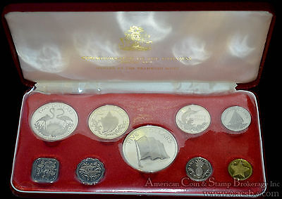 Bahamas 1975 9 Coin (4 Silver) Proof Set Original Case COA As Issued.