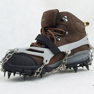 Ice Snow Shoes Spike Grip Boots Chain Crampons Grippers 12-teeth Anti Slip Grey