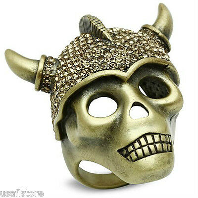 Skull With A Helmet & Horn Antique Copper EP Citrine Yellow Stones Mens Ring