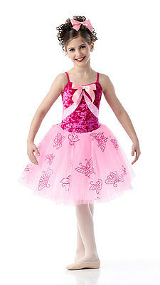 Romantic Ballet Tutu Dance Costume Dress ALL A FLUTTER Pink Sequin CXS AXL