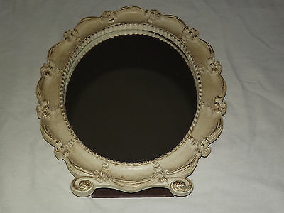 Vintage Old Made In Usa Syroco Wood Oval Table Mirror