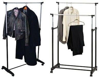 Single/double Adjustable Hanging Garments Clothes Rail Shoe Rack Display Stand