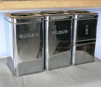 60's Vintage 4 Piece Chrome Lincoln Beautyware Stacking Canister Set Very Shiny