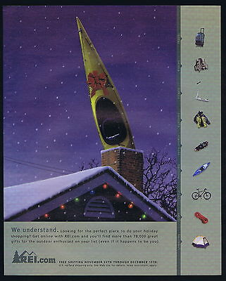 2000 Rei.com Christmas Kyak Down The Chimney Print Ad
