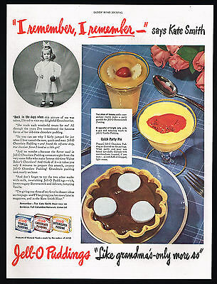 1945 Jell-o Pudding Party Pie Kate Smith Girl Picture Print Ad