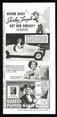 1937 Shirley Temple Quaker Puffed Wheat Cereal Print Ad