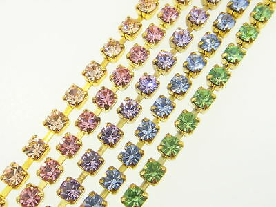 Austrian Crystal Rhinestone Chain 3mm (24pp) Classic Colors 3 Feet