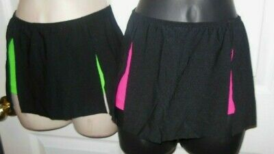 New Dance Hot Pink Booty Shorts w/ Attached Black Split Mini Skirt Girls Child