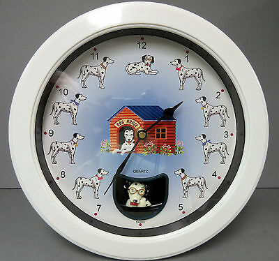 "Dalmatian Wall Clock  /& Pendulum Collectible 10/""l x 10/""h x 2/""w"