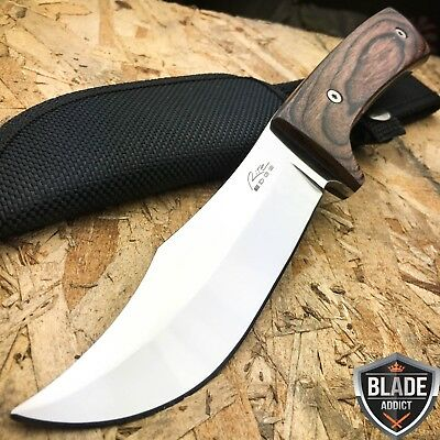"9.5"" Brown Wood Hunting Survival Skinning Fixed Blade Knife Full Tang Army"
