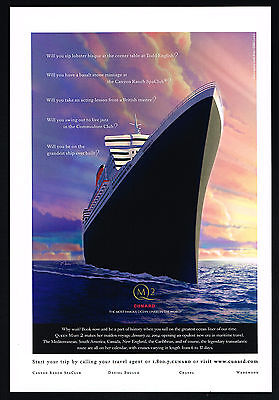 2003 Cunard QM2 Queen Mary 2 Cruise Ship Maiden Voyage 2004 Vintage Print Ad