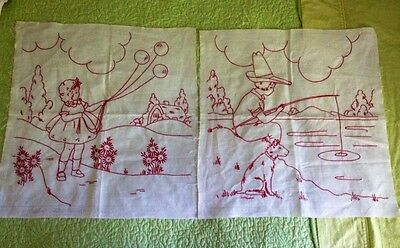 BEAUTIFUL VICTORIAN TURKEY RED WORK PIECES~2~BOY FISHING~GIRL FLYING BALLOONS
