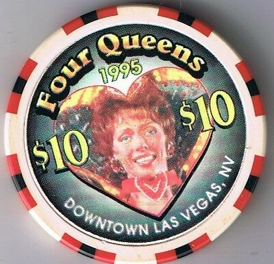 Four Queens Hotel $10.00 Showgirl Heart BJones Casino Chip Las Vegas, Nevada