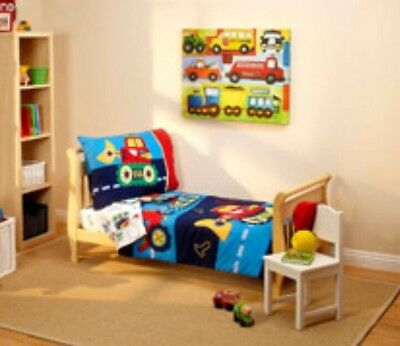 4pc CONSTRUCTION TRUCKS Toddler Bed-in-a-Bag COMFORTER+SHEETS SET Room Crib Boys