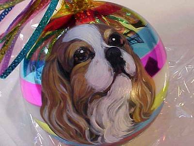 Cavalier King Charles Handpainted Glass Christmas Ornament Gorgeous!