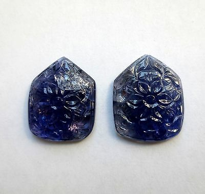 57.71 carats CARVED TANZANITE PAIR Minerals