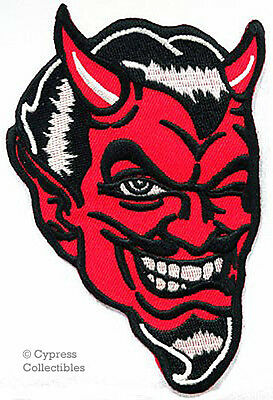 WHITE DEVIL DEMON iron-on PATCH embroidered EVIL SKULL