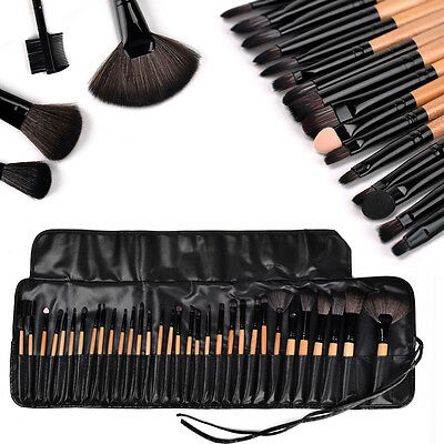 32tlg Schwarz Professionelle Kosmetik Pinsel-Set Make up Brush Kit Schminkpinsel