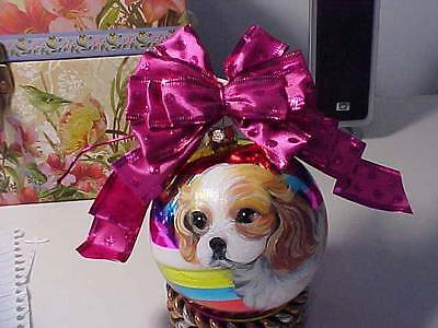 Cavalier King Charles Handpainted Glass Christmas Ornament
