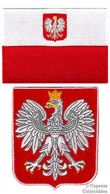 LOT of 2 POLAND FLAG PATCH POLSKA EMBROIDERED IRON-ON POLISH COAT ARMS SHIELD
