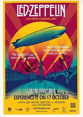 LED ZEPPELIN SIGNED POSTER APPROX 12x8INCHES