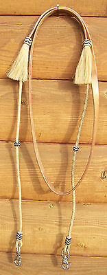 Roping Reins - Leather Center with Round Rawhide, Knots/Tassels (Russet)