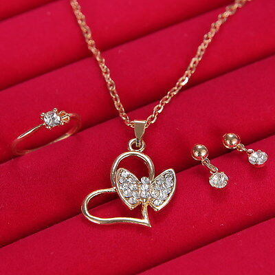 Wedding Bridal Jewelry Rhinestone Crystal Earring Necklace Ring Set Gold Prom