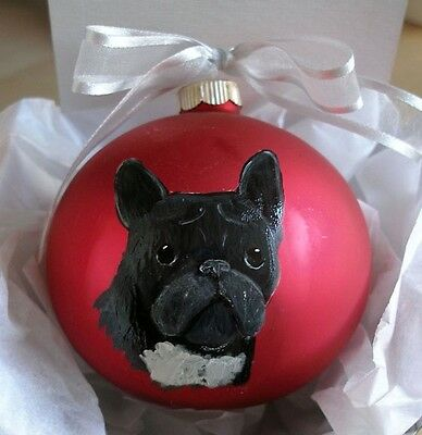 French Bulldog Frenchie Face - Hand Painted Glass Christmas Ornament w/Name