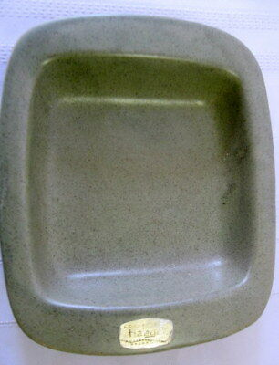 """Haeger 3965  Pottery Speckled Green Tidbit Dish Tray Server w/Label 7x6"""""""