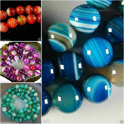"""AAA 6-12mm Natural 5 -color Stripe Agate Onyx Round Gemstone Loose Beads 15 """""""