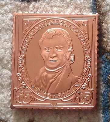 SCARCE 999 COPPER JOHN MARSHALL COMMEMORATIVE STAMP BRILLIANT UNC.ONE TROY OUNCE