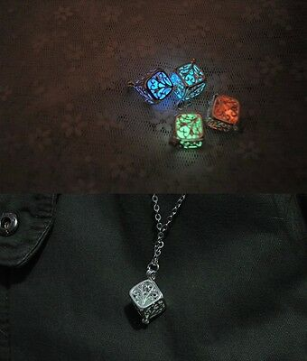 New Glow In The Dark Hollow Tree of Life Cube Necklace Pendant 925Silver plating