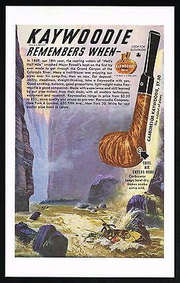 1949 Grand Canyon Colorado River 1869 Powell Kaywoodie Tobacco Pipe Print Ad