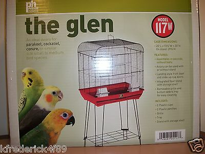 Prevue Hendryx The Glen Cockatiel and Parakeet Bird Cage Aviary with Stand